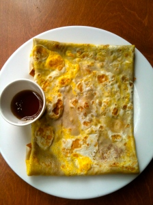Simple Crepe: two eggs, cheddar cheese and maple syrup