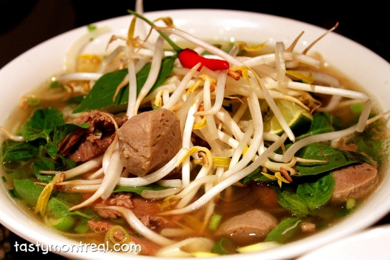 ho with rare and cooked beef, beef balls, tendons and tripe. Thai basil, sprouts, and two little Thai chili