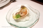 Fresh oyster with soy jelly and cucumber
