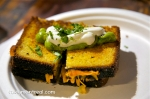 Grilled cheese with cornbread with guacamole and sour cream